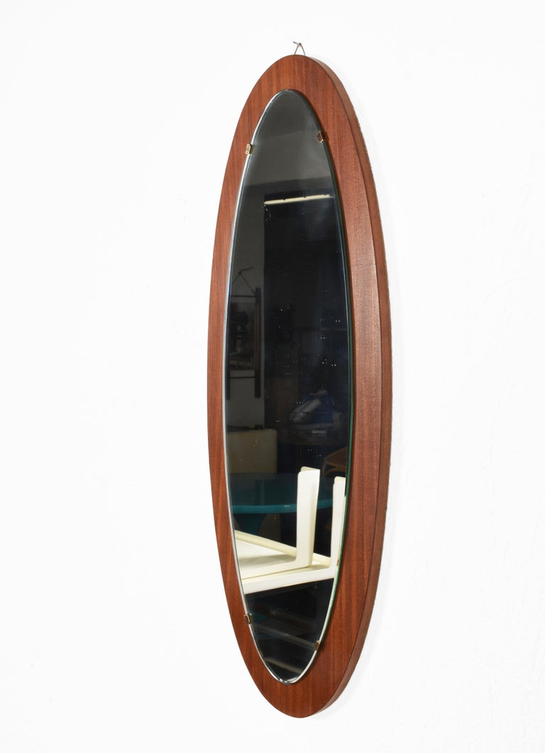 20th Century Oval Wall Mirror Frame with Mahogany, 1960s, Italy, Mid-Century Modern For Sale