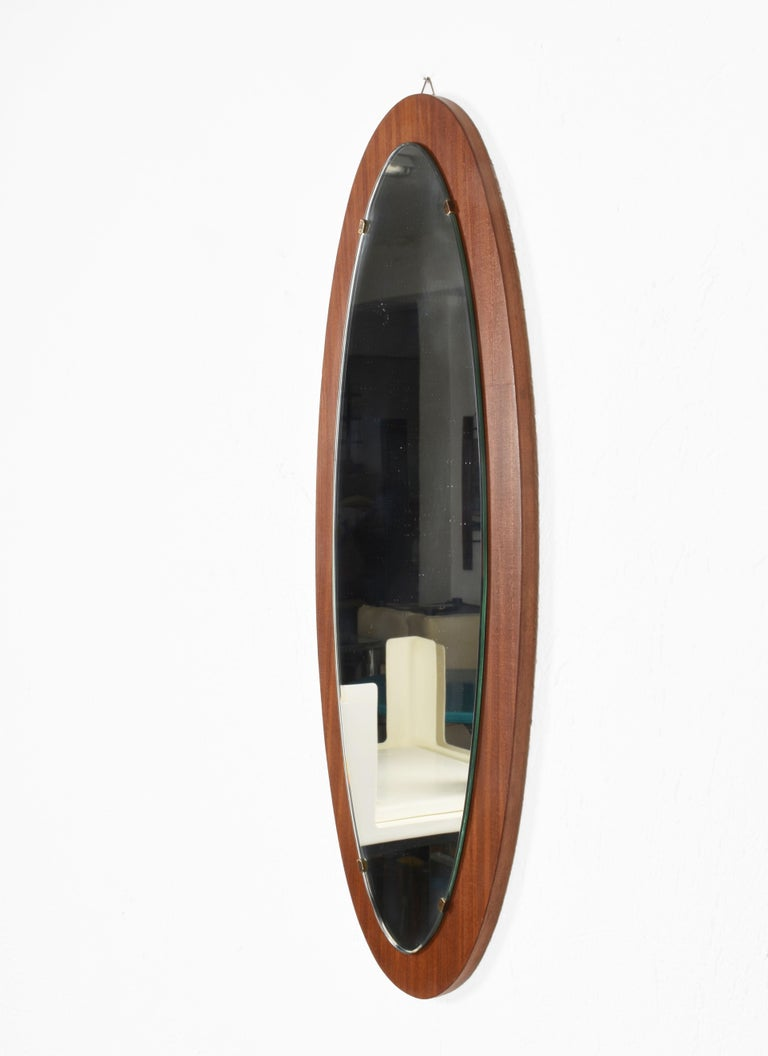 Oval Wall Mirror Frame with Mahogany, 1960s, Italy, Mid-Century Modern For Sale 1