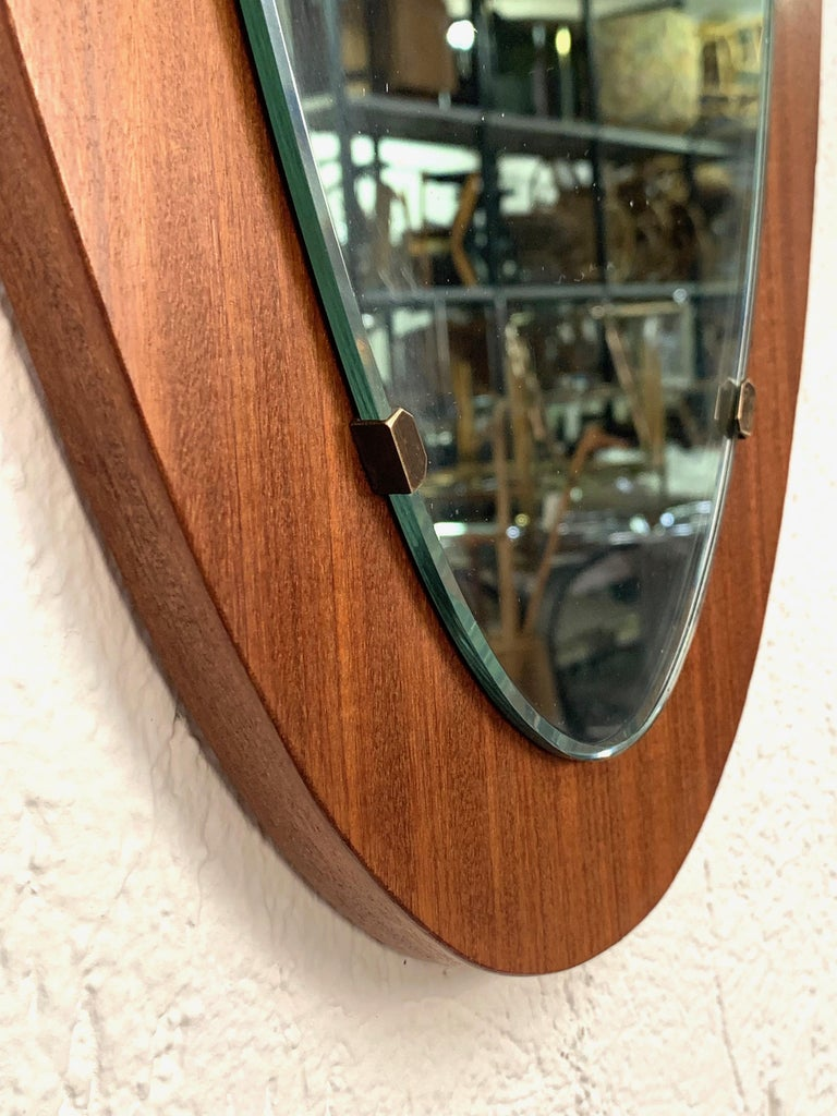 Oval Wall Mirror Frame with Mahogany, 1960s, Italy, Mid-Century Modern For Sale 2