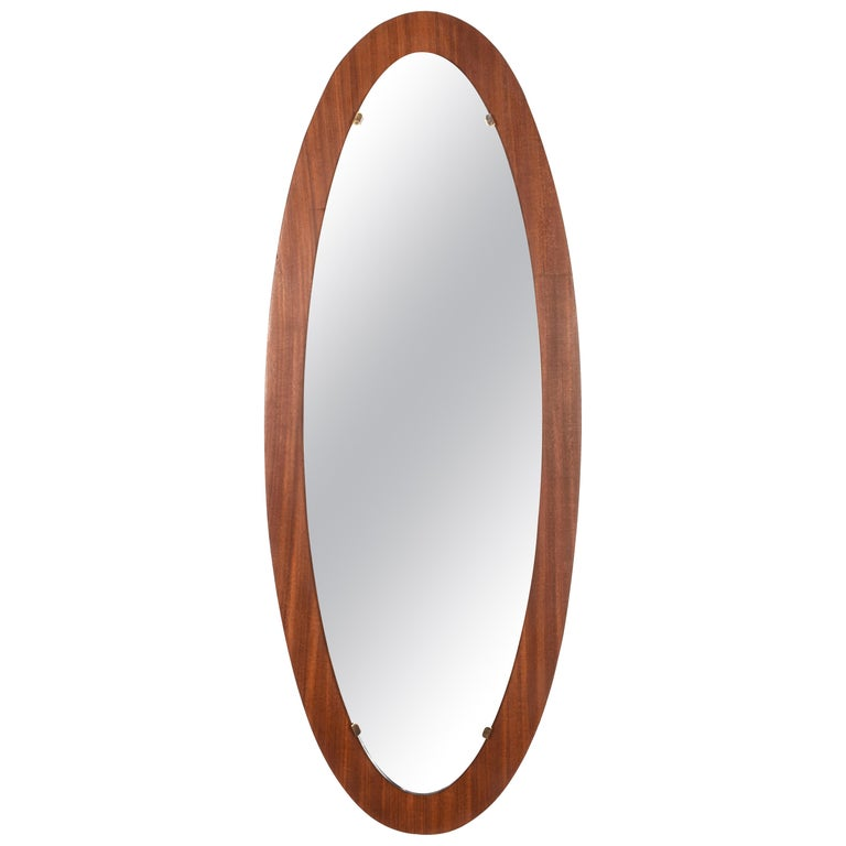 Oval Wall Mirror Frame with Mahogany, 1960s, Italy, Mid-Century Modern For Sale
