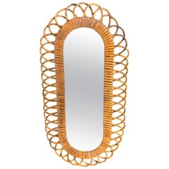 Oval Wall Mirror in Bamboo and Ratta, Italy, 1960s