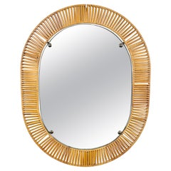 Oval Wall Mirror in Rattan & Iron, Italy, 1960s