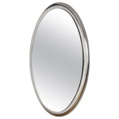 Oval Wall Mirror with Metal Frame, Italy, 1970s