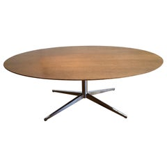 Oval Walnut and Chrome Dining Table by Florence Knoll