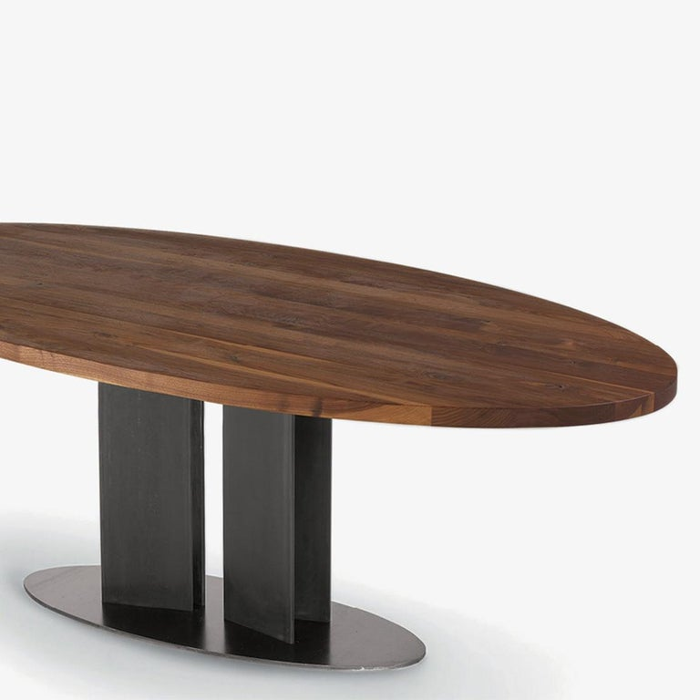 Italian Oval Walnut Dining Table For Sale