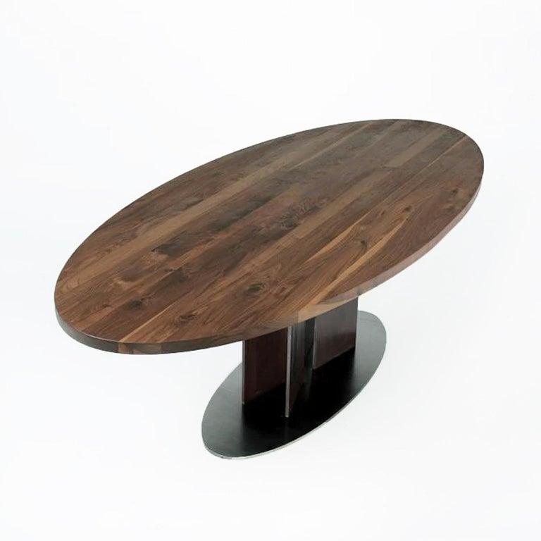 Hand-Crafted Oval Walnut Dining Table For Sale