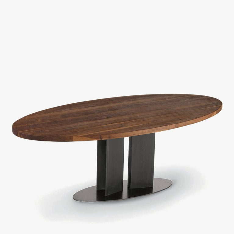 Contemporary Oval Walnut Dining Table For Sale