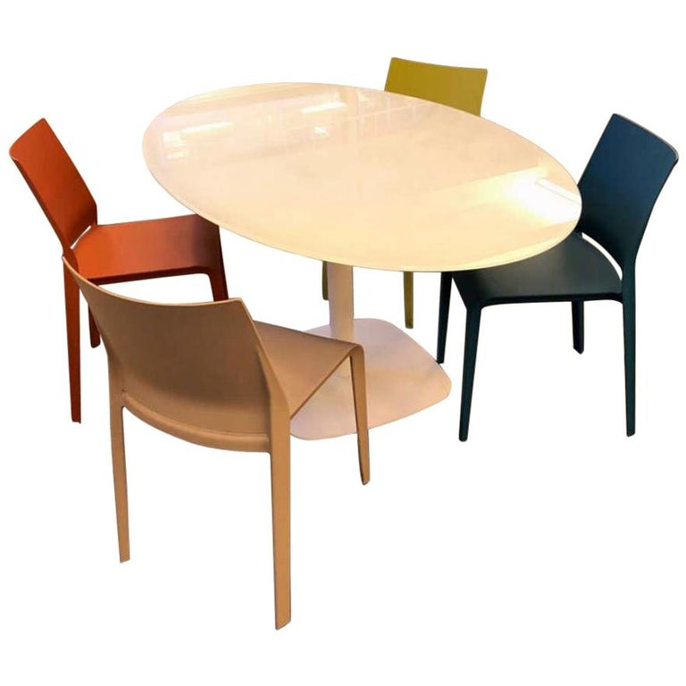 Oval White Glass Small Meeting Table For Sale