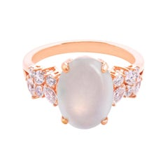 Oval White Icy Jade Marquise Diamond Unique Engagement Ring in Rose Gold