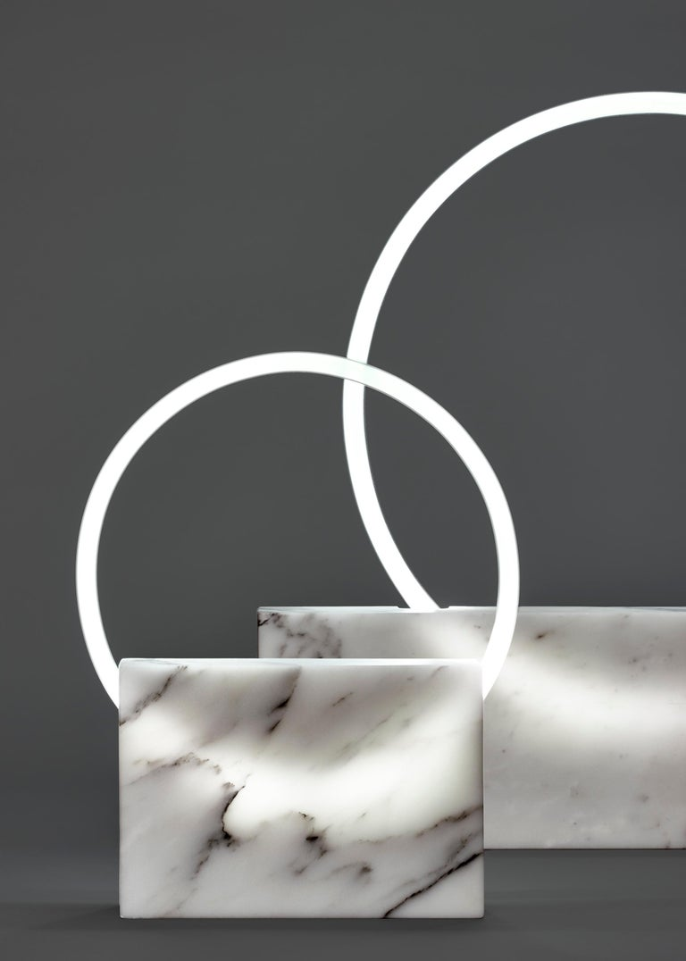 Modern Oval White Marble Table Lamp, Sabine Marcelis For Sale