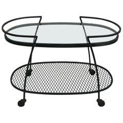 Oval Wrought Iron 'Pinecrest' 1950s Bar Cart by Woodard