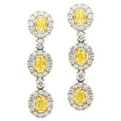 Oval Yellow Diamonds with Diamond Halo Triple Stacked Earrings