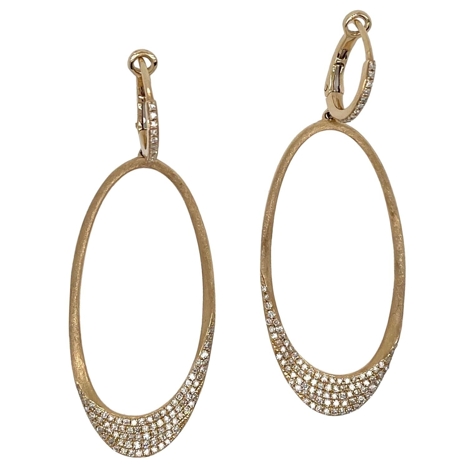 Oval Yellow Gold and Diamond Dangle Earrings