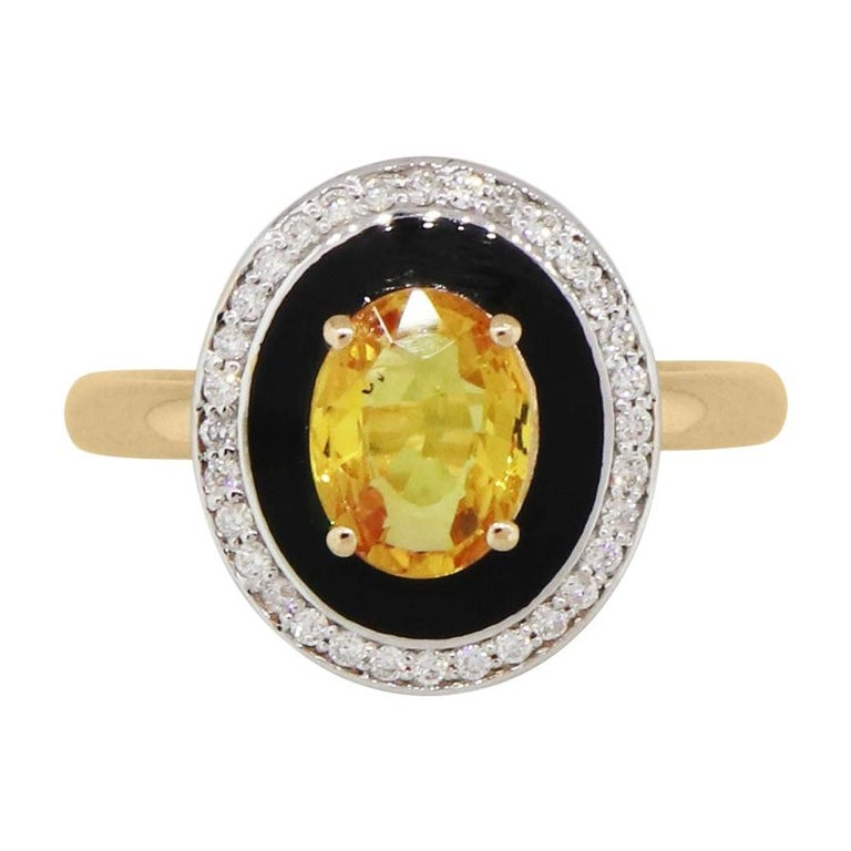 Oval Yellow Sapphire and Diamond Ring For Sale