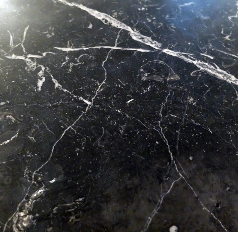 Mid-Century Modern Ovale Dining Table Black Marble Top by Michel Charron, 1970s, France For Sale