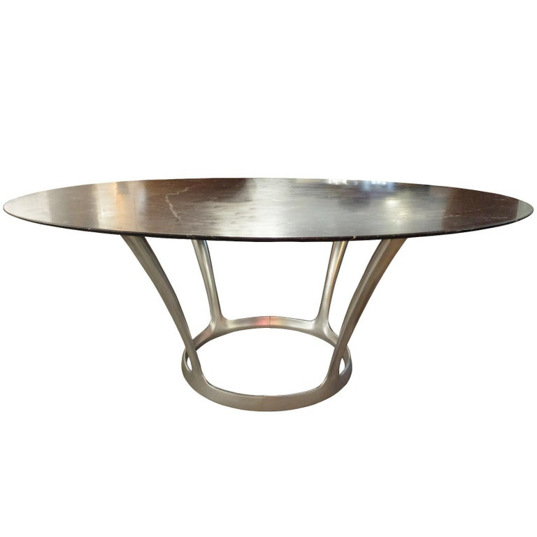 Ovale Dining Table Black Marble Top by Michel Charron, 1970s, France For Sale