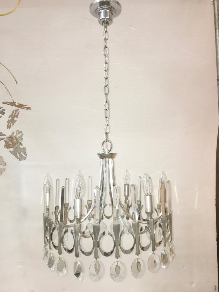 Plated Ovali Chandelier by Angelo Gaetano Sciolari For Sale