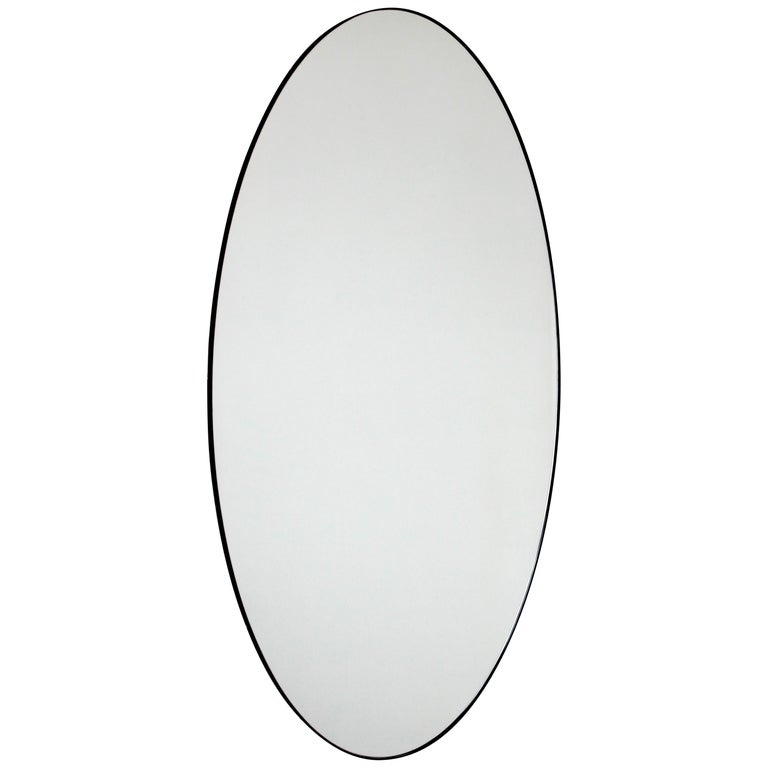 Ovalis Oval Silver Mirror with Black Frame, Large For Sale