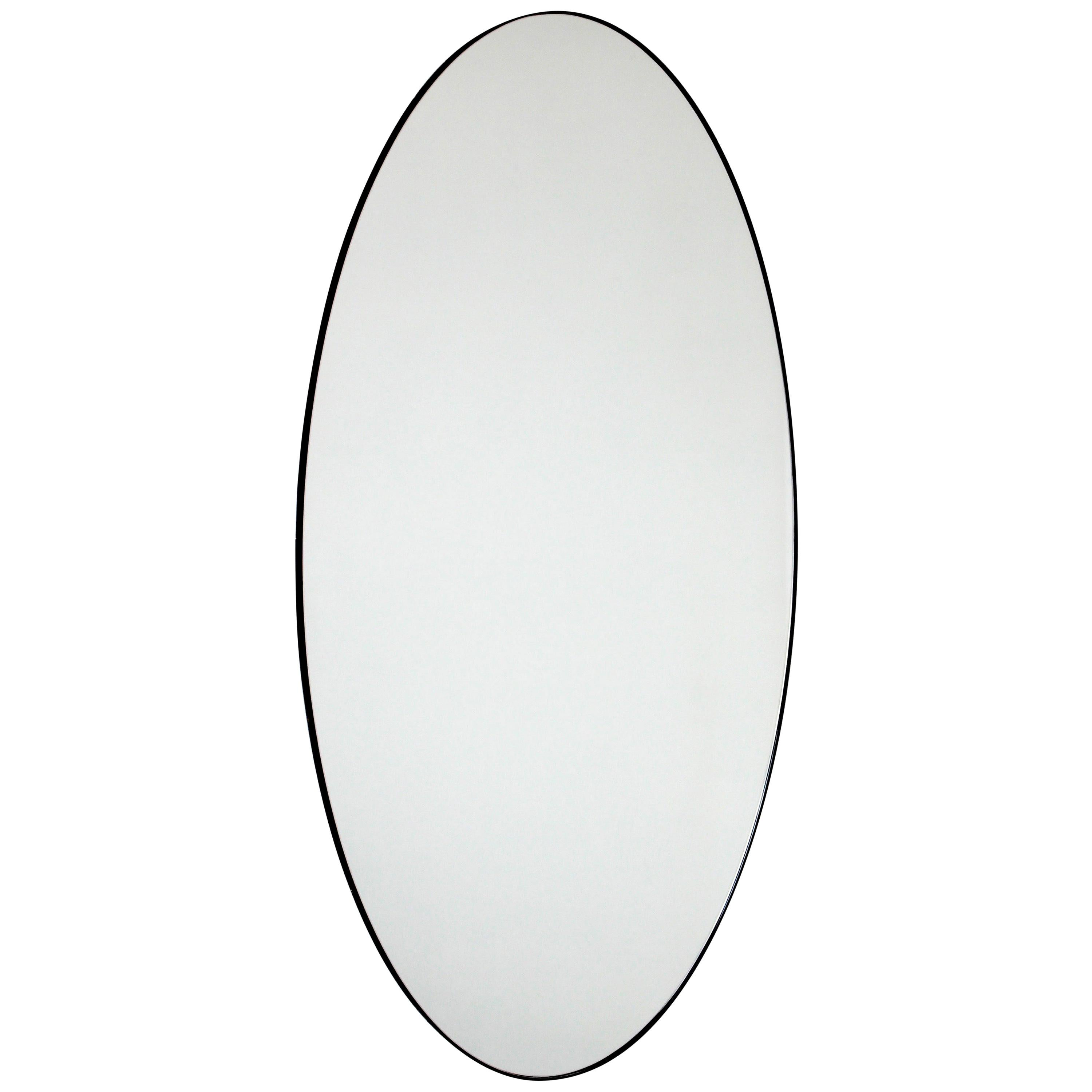 Ovalis™ Oval Contemporary Bespoke Mirror with Black Frame, Extra Large