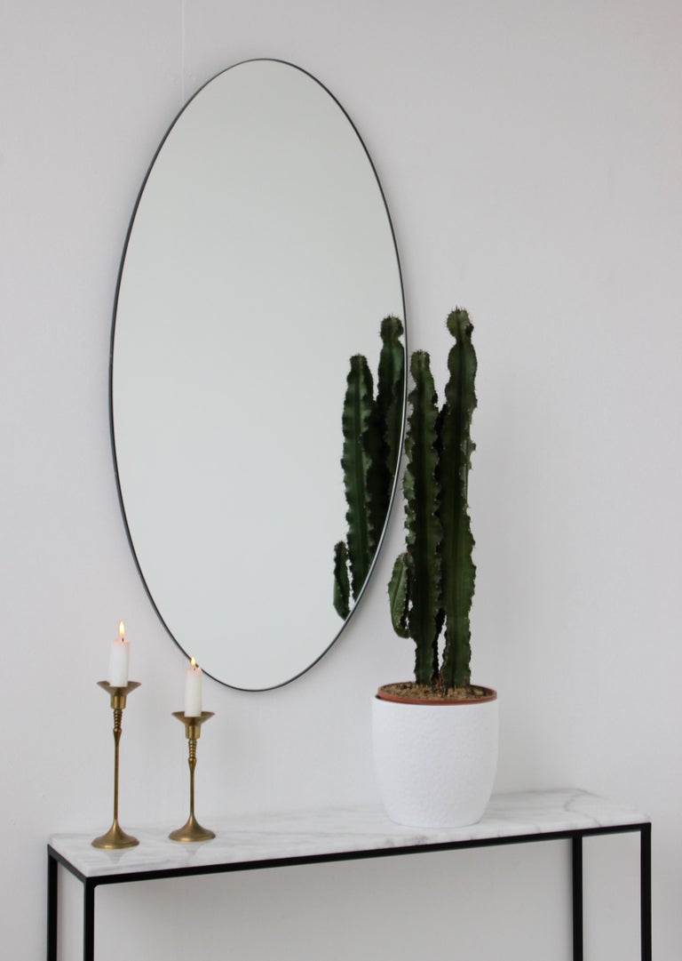 British Ovalis Oval Silver Mirror with Black Frame, Large For Sale