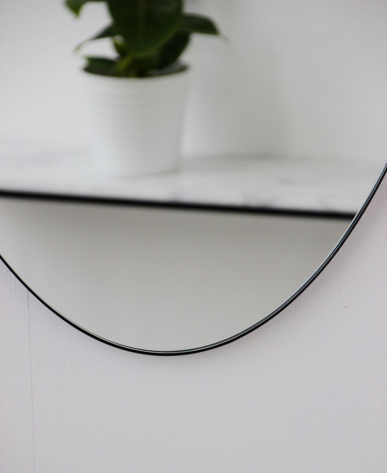 Powder-Coated Ovalis Oval Silver Mirror with Black Frame, Large For Sale