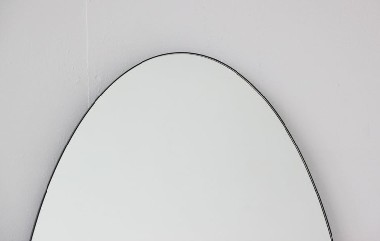 Ovalis Oval Silver Mirror with Black Frame, Large In New Condition For Sale In London, GB