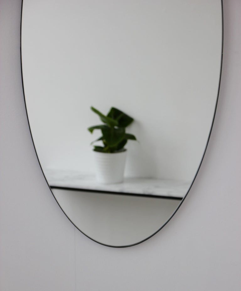 Contemporary Ovalis Oval Silver Mirror with Black Frame, Large For Sale