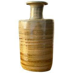Ovar Nilsson, Stoneware Vase or Flask, Hand-Applied Glaze, Studio of Artist 1970