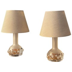 Ove Sandberg, Organic Table Lamps, Frosted Glass, Fabric, Kosta, Sweden, 1970s