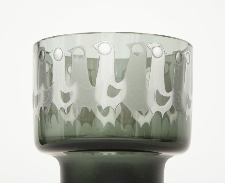 Ove Sandeberg for Kosta Boda Etched Bird Grey Glass Lamp For Sale 3