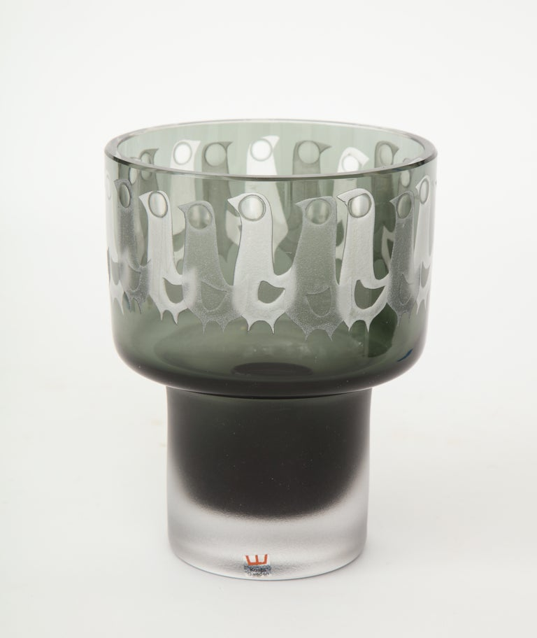 Ove Sandeberg for Kosta Boda Etched Bird Grey Glass Lamp In Excellent Condition For Sale In New York, NY
