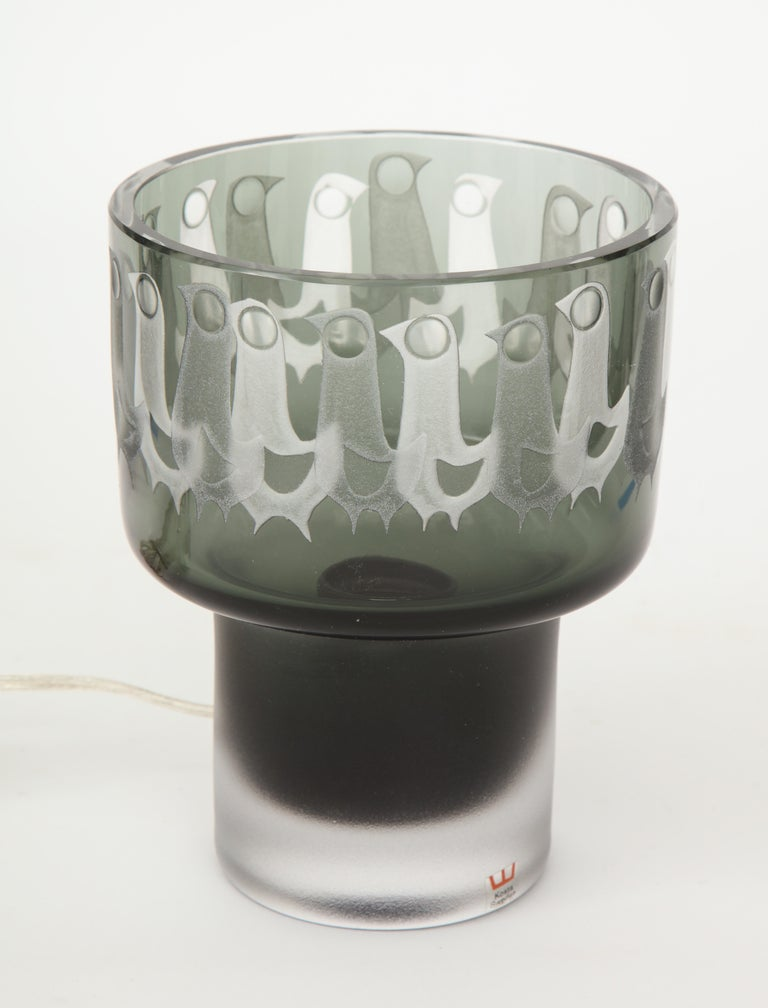 20th Century Ove Sandeberg for Kosta Boda Etched Bird Grey Glass Lamp For Sale