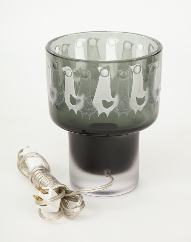 Ove Sandeberg for Kosta Boda Etched Bird Grey Glass Lamp For Sale 1