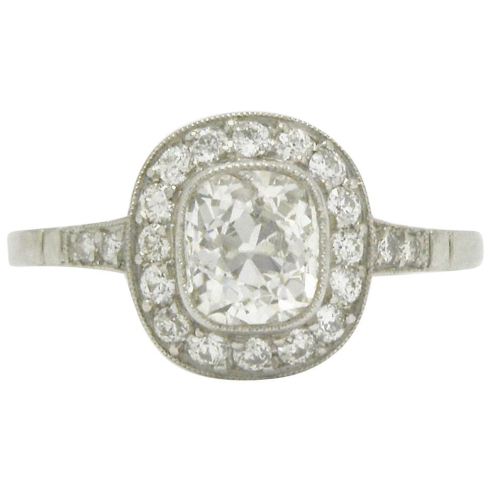 Over 1 Carat Old Mine Cushion Diamond Engagement Ring Art Deco Inspired Halo