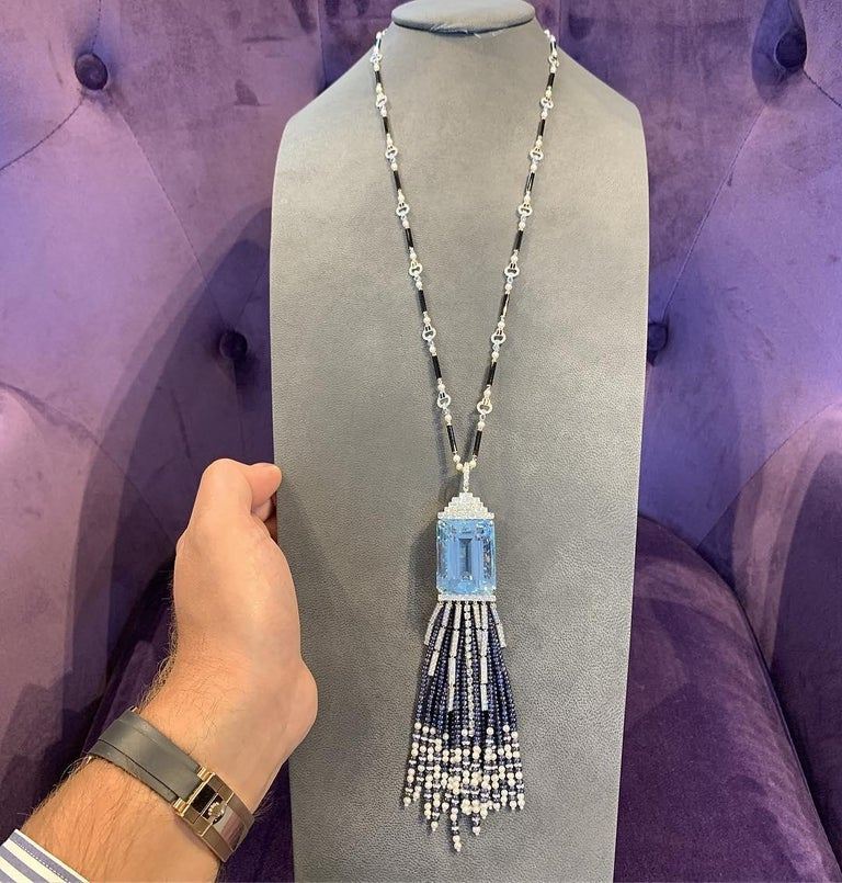 118 Carat Aquamarine and Sapphire Tassel Sautoir Length Necklace For Sale 1