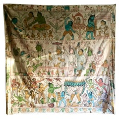 Over 9' Vintage Indian Wall Hanging Painting on Canvas from Diwali Festival