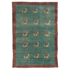 Over-Dyed Vintage Turkish Rug, Green Color Handmade Carpet