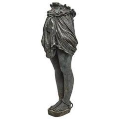 Over-Lifesize Patinated Bronze Greco Roman Standing Half-Figure of Andromeda