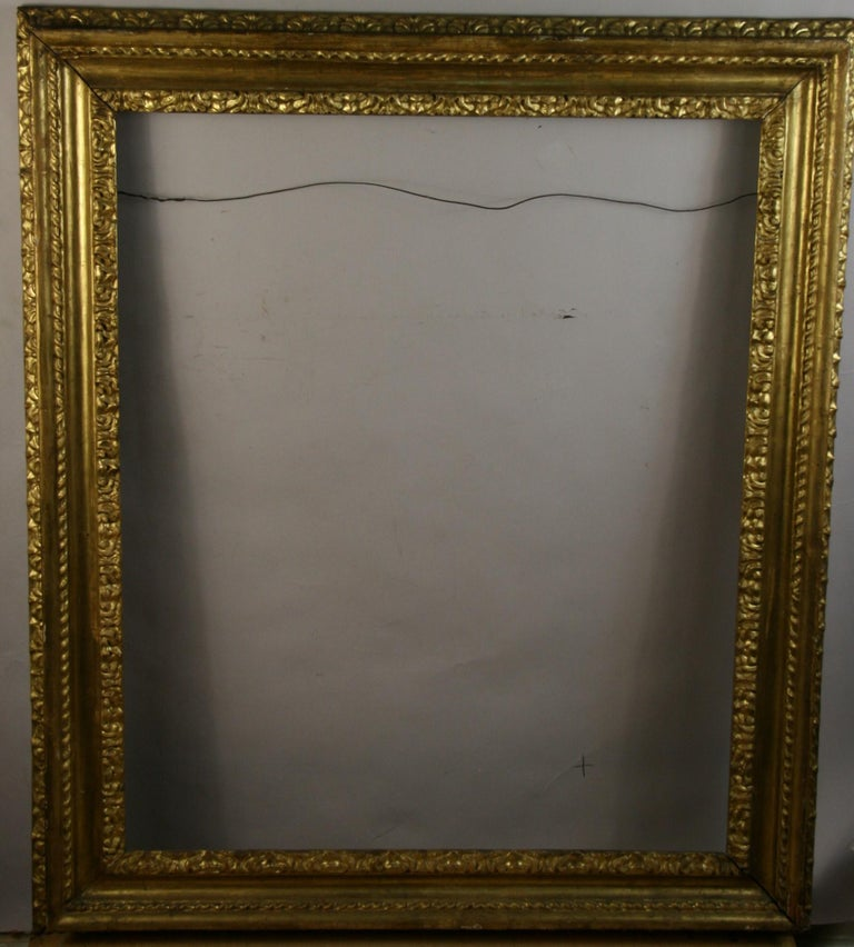 over Sized 19th Century Italian Water Giltwood Frame In Good Condition For Sale In Douglas Manor, NY