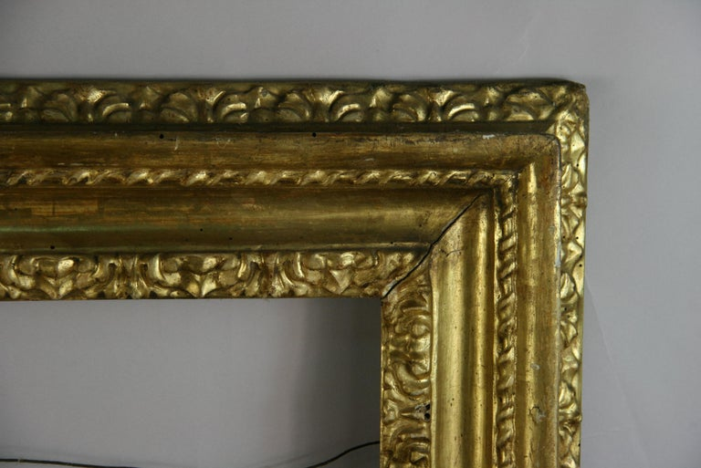 over Sized 19th Century Italian Water Giltwood Frame For Sale 1