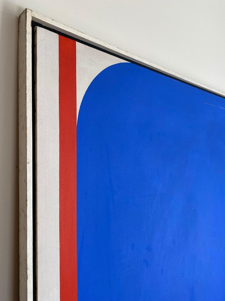 Vivid blue with contrasting green and red create the illusion of depth and movement in this outstanding painting. This piece hung in the North Carolina Museum of Art in the 1960s.  This piece is signed and titled on the verso