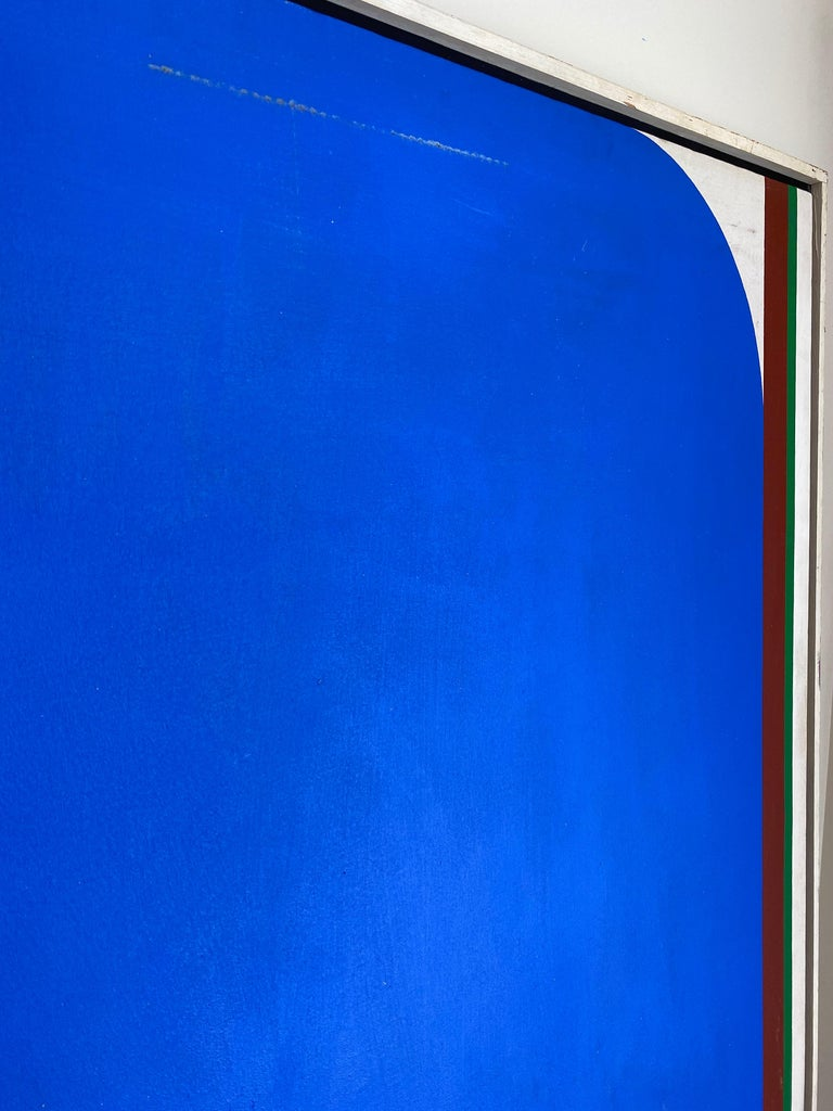 Mid-Century Modern Over-Sized Blue Abstract Painting by Russell Arnold, 1965 For Sale
