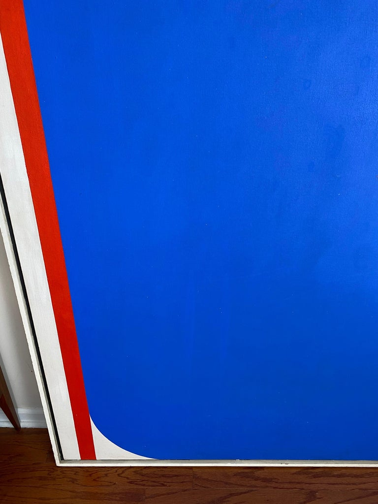 American Over-Sized Blue Abstract Painting by Russell Arnold, 1965 For Sale