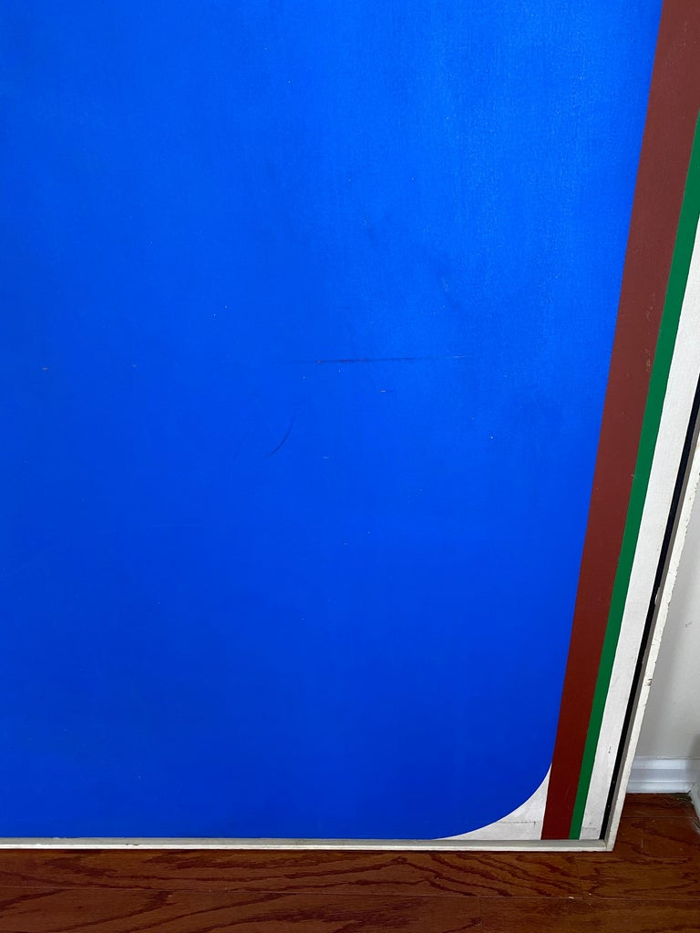 Over-Sized Blue Abstract Painting by Russell Arnold, 1965 In Good Condition For Sale In Raleigh, NC