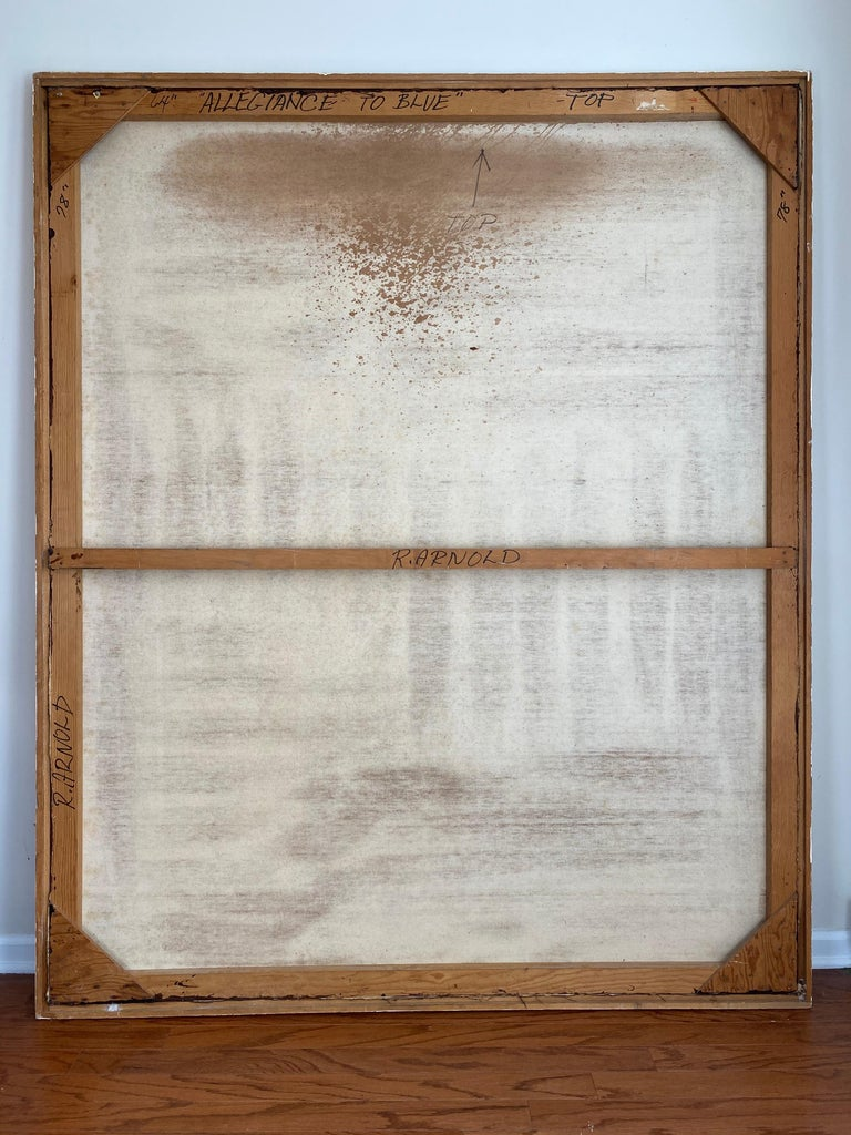 Canvas Over-Sized Blue Abstract Painting by Russell Arnold, 1965 For Sale