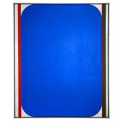 Over-Sized Blue Abstract Painting by Russell Arnold, 1965