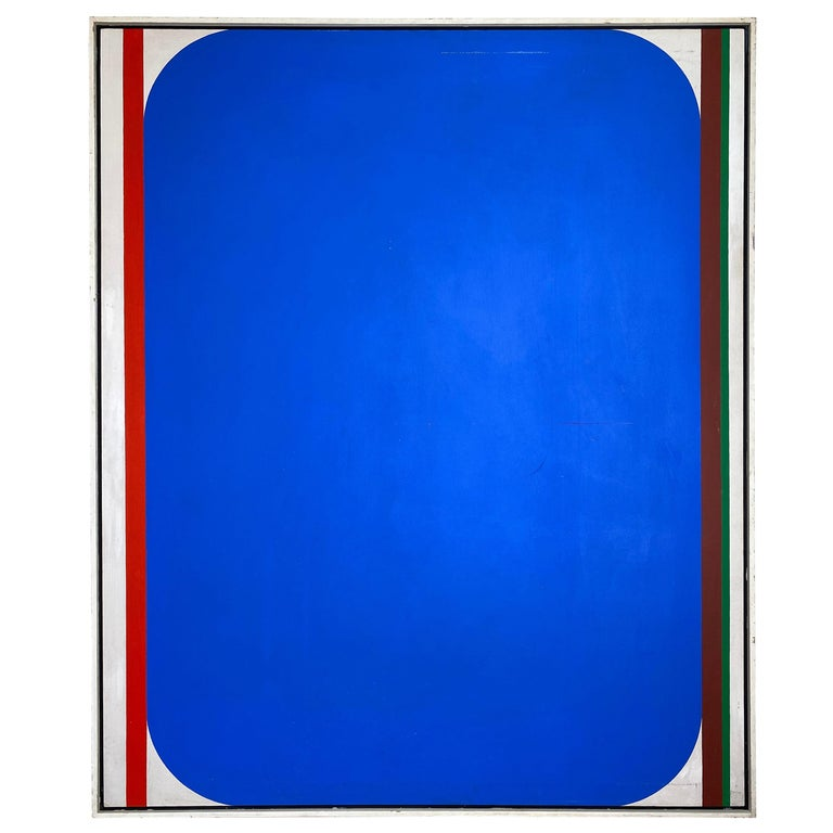 Over-Sized Blue Abstract Painting by Russell Arnold, 1965 For Sale