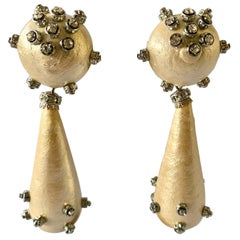 "Over-sized Contemporary Drop Pearl Diamante ""strass"" Statement Earrings"