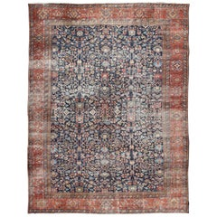 Oversized Fine Weave Antique Persian Sultanabad with Distressed All-Over Design