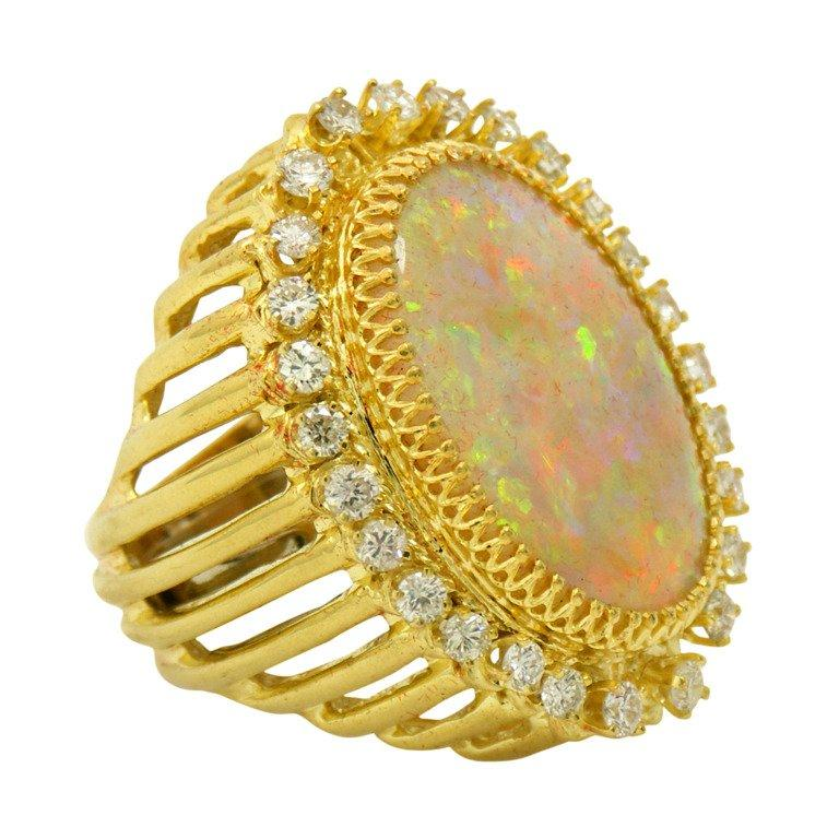 Over the Top Opal Ring with Diamonds In Excellent Condition In Palm Beach, FL